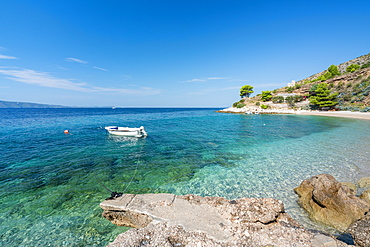 Boat and beach in summer, Murvica, Bol, Brac island, Split-Dalmatia county, Croatia, Europe