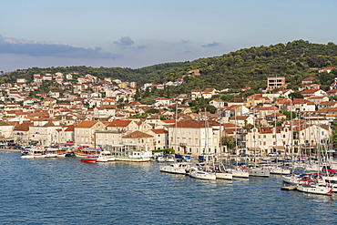 View of the harbour of Ciovo island from Karmelengo tower, Trogir, Split-Dalmatia county, Croatia, Europe
