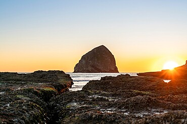 Haystack Rock at Cape Kiwanda at sunset, Pacific City, Tillamook county, Oregon, United States of America, North America