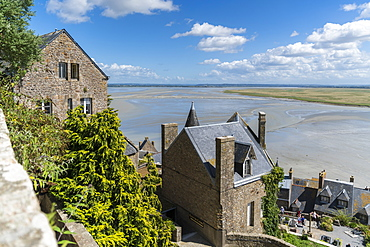 The bay during low tide seen from the top of the village, Mont-Saint-Michel, Normandy, France, Europe