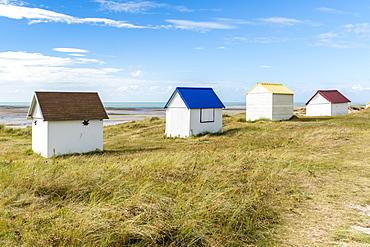 Beach huts, Gouville-sur-Mer, Normandy, France, Europe