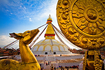 Golden deer statue of Boudhanath Stupa, UNESCO World Heritage Site, Kathmandu, Nepal, Asia