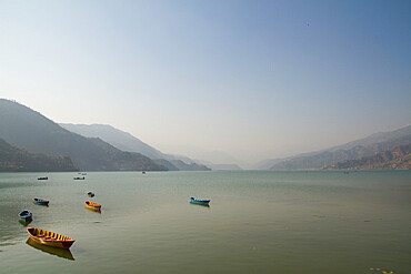 Boats on Fewa Lake (Phewa Lake), Pokhara, Pokhara Valley, Nepal, Asia