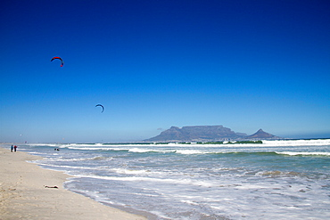 Table Mountain and kite surfers, Cape Town, South Africa, Africa