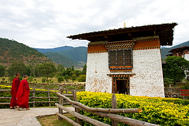 Buddhist monks of the Punakha Fortress Monastery, Paro, Bhutan, Asia