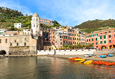 Colourful kayaks in the harbour at Vernazza, Cinque Terre, UNESCO World Heritage Site, Liguria, Italy, Europe