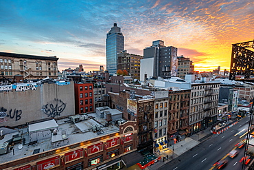 Sunrise over the Soho district of New York City, New York, United States of America, North America