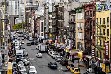 The buildings of New York City's Chinatown district, New York, United States of America, North America