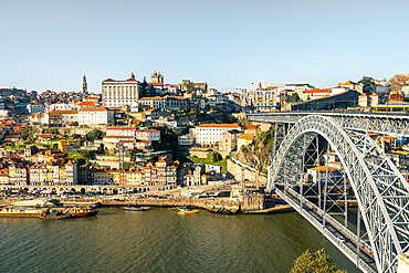 The Dom Luis I Bridge and Ribeira district of Porto, UNESCO World Heritage Site, viewed from the Gaia Cable Car, Porto, Portugal, Europe