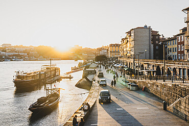 The Cais da Ribeira area of Porto at sunset, UNESCO World Heritage Site, Porto, Portugal, Europe