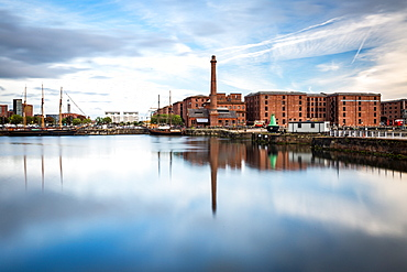 The Pump House pub and Albert Dock buildings reflected in a still Canning Dock, Liverpool, Merseyside, England, United Kingdom, Europe
