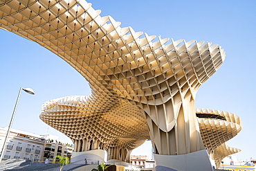 The Metropol Parasol, a wooden structure located at La Encarnacion Square, in the old quarter, Seville, Andalusia, Spain, Europe