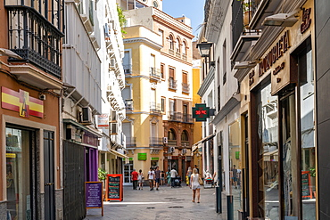 A pedestrianised shopping street in Seville, Andalusia, Spain, Spain