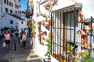 The outside of a quaint shop in the historic town of Mijas Pueblo, Costa del Sol, Andalusia, Spain, Europe