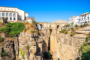 Puente Nuevo (New Bridge), the tallest of the three bridges in Ronda crossing the Guadalevin River, Ronda, Andalusia, Spain, Europe