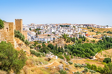 Walls of the Cijara de Ronda, a fortified Muslim defence tower overlooking the Andalusia countryside, Ronda, Andalusia, Spain, Europe