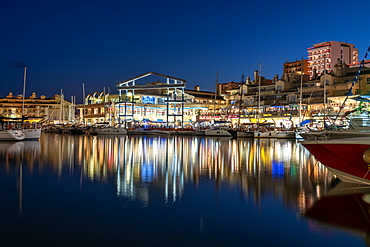 Benalmadena Puerto Marina at night, located between the Costa Del Sol beach resorts of Benalmadena and Torremolinos, Andalusia, Spain, Europe
