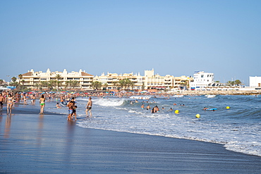 People enjoying the beach at Benalmadena on the Costa Del Sol, Andalusia, Spain, Europe