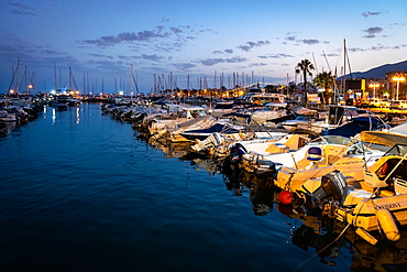Boats at blue hour, Benalmadena Puerto Marina between the Costa Del Sol beach resorts of Benalmadena and Torremolinos, Andalusia, Spain, Europe