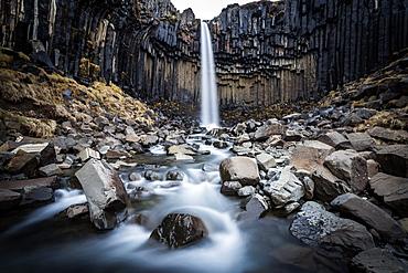Svartifoss (Black Falls) near Skaftafell glacier, Iceland, Polar Regions