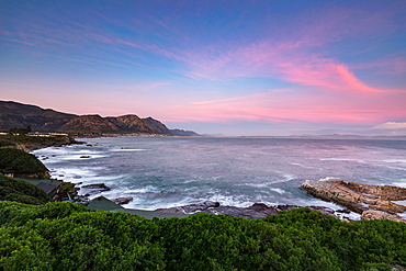 Sunset overlooking Walker Bay in Hermanus, Western Cape, South Africa, Africa