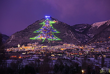 The town and the biggest Christmas Tree of the world, Gubbbio, Umbria, Italy, Europe