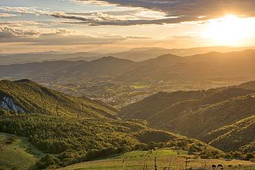 Apennines at sunset, Monte Cucco Park, Apennines, Umbria, Italy, Europe