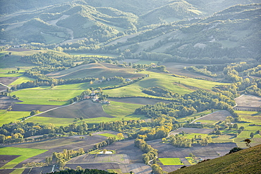 Valley at sunset in autumn, Monte Cucco Park, Apennines, Umbria, Italy, Europe