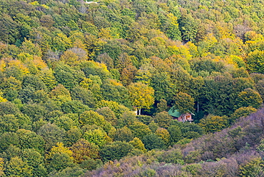 Small house in the forest in autumn, Monte Cucco Park, Apennines, Umbria, Italy, Europe