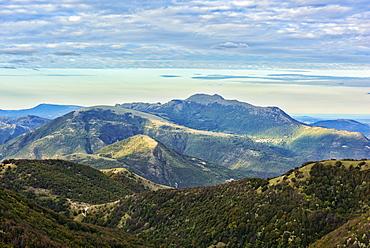 Mount Strega in autumn, Monte Cucco Park, Apennines, Umbria, Italy, Europe