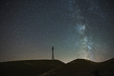 Summit cross of Mount Catria and Milky Way, Marche, Italy, Europe