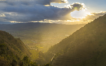 Sunset over the valley in winter, Gubbio, Umbria, Italy, Europe