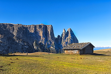 Alm (mountain hut) in the fields, Alpe di Siusi, Trentino, Italy, Europe