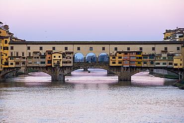 Ponte Vecchio at sunrise, UNESCO World Heritage Site, Florence, Tuscany, Italy, Europe