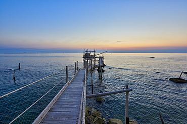 Trabocco Turchino at sunrise, Trabocchi coast, San Vito Chietino, Abruzzo, Italy, Europe