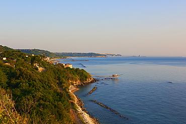 Aerial view of the coast from Promontorio Dannunziano, Trabocchi coast, San Vito Chietino, Abruzzo, Italy, Europe