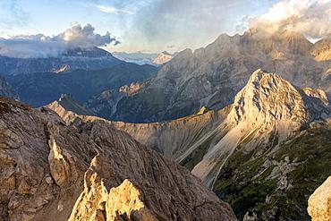 Alta Via Bepi Zac, sunset on Dolomites, Veneto, Italy, Europe