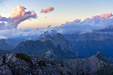 Alta Via Bepi Zac, sunset on Pale of San Martino, Dolomites, Veneto, Italy, Europe