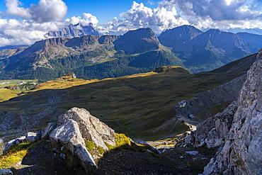 San Pellegrino Pass, Paradiso mountain hut, Dolomites, Veneto, Italy, Europe