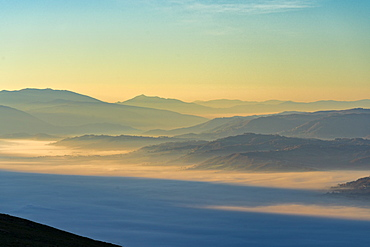 Apennines at sunrise seen from Mount Cucco, Umbria, Italy, Europe