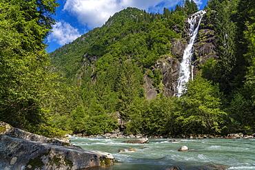Nardis Waterfall and Sarca River, Genova Valley, Trentino, Dolomites, Italy, Europe