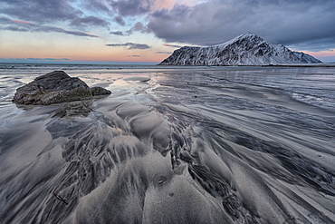Drawings and shapes on the sand, Skagsanden beach, Lofoten Islands, Norway, Scandinavia, Europe