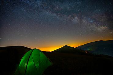 Italy, Umbria, Apennines, Sibillini mountain range, Plateau Piani di Ragnolo by night
