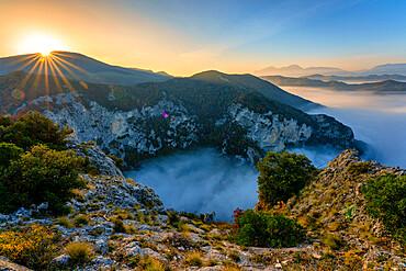 River Condigliano in the fog, Furlo Gorge, Marche, Italy, Europe - 1264-327