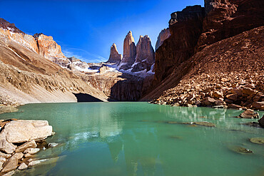 Torres del Paine base and glacier, Torres del Paine National Park, Ultima Esperanza Province, Magallanes and Chilean Antactica Region, Patagonia, Chile, South America