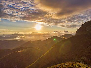 Italy, Umbria, Apennines, Mount Cucco Park, Pian delle Macinare plateau at sunrise