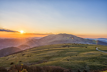 Mount Petrano, sunset on Apennines, Marche, Italy, Europe