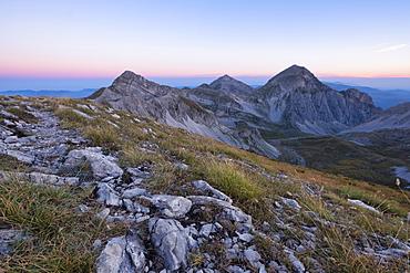 Mountain Portella at sunrise, Gran Sasso e Monti della Laga National Park, Abruzzo, Italy, Europe