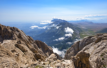 Panorama from the summit of Corno Grande peak, Gran Sasso e Monti della Laga National Park, Abruzzo, Italy, Europe