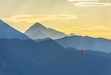 Balloon at sunrise, Bled, Slovenia, Europe